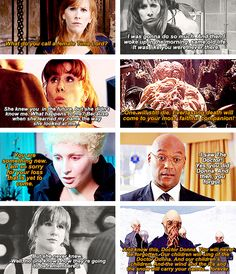 """Foreshadowing Donna's fate. Also, I'd like to point out that she doesn't actually lose her memories: it says above in the Dr. Moon photo """"I saw the Doctor! Yes, you did, and then you forgot."""" They're still there, locked away, like dreams you can't remember when you wake up. She's still a time lady! Just like the fob watch thing, but without the watch."""