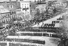 President Lincoln's Funeral Procession: Lincoln was the first president to be assassinated. His body rested at the White House then in state at the Capitol rotunda . (Photo Credit: Library of Congress)