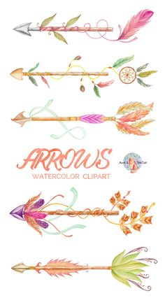 Arrows Watercolor Clipart, Hand Painted Elements, Feather, Wedding Invitation…