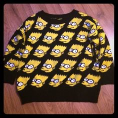 Bart Simpson black sweater Black Bart Simpson sweater. Bought this last year off Posh...so I'm retiring it. Lol. Did not have tag in shirt when I received it. No holes or pulls. In great condition. I'm a xs. So this would fit up to a small.  Somebody needs this now to keep the badassery going. ✌️ Sweaters