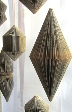 Hanging Book sculpture: Bicone -folded Books                                                                                                                                                     More
