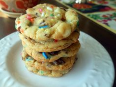 Cake Batter Chocolate Chip Cookies | Fancy Fork
