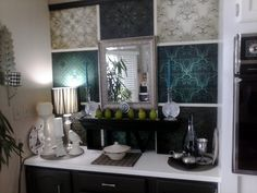 "Kitchens and bathrooms deserve the same attention as other rooms in your home. Wall murals can help make these rooms look brighter, bigger, and more pulled-together. Keep the size of the print and the proportion of your room in mind. Consider ""damask-themed"" ‪#‎wallmurals‬ from InkShuffle for your kitchen or bathroom just like what our customer did! http://www.inkshuffle.com/set_of_seamless_patterns-1984085161"