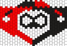 Harley Quinn Mask Bead Pattern Kandi Mask Patterns, Pony Bead Patterns, Beading Patterns Free, Beaded Bracelet Patterns, Peyote Patterns, Crochet Mask, Crochet Faces, Graph Paper Art, Baby Cross Stitch Patterns
