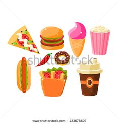 Fast Food Items Set Of Isolated Icons. Junk food Collection Of Flat Vector Drawings. Bright Color Icons Of Fast Food And Drink. Fast Food Items, Food Stickers, Junk Food, Food Truck, Drawing S, Wordpress Theme, Pixel Art, Royalty Free Stock Photos, Food And Drink