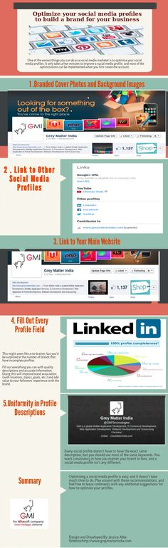 Optimize Your Social Media Profiles to Build A Brand for Your Business Infographic #business