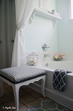 Master bathroom in aqua blue and grey--soothing and spa-like! #ad