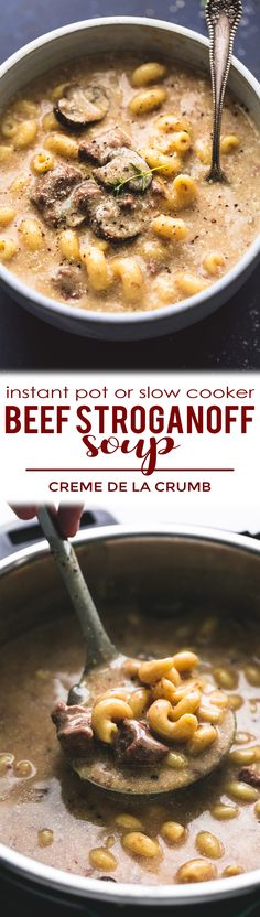 One of your favorite classic, comfort food dishes turned into a creamy, savory soup! This instant pot or slow cooker beef stroganoff is a must make all year round | lecremedelacrumb.com