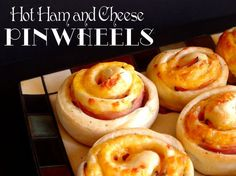 Hot Ham and Cheese Pinwheels...lets be honest I'm not making the bread from scratch, but I bet taking crescent rolls and rolling them out then doing the rest of the steps would work just fine! @Courtney Sobert