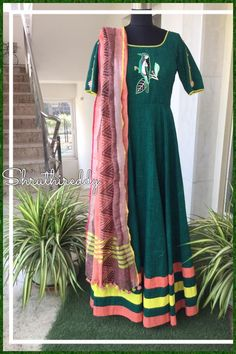 40dd732b6a405 Stunning bottle green color floor length anarkali dress with lovely dupatta.  anarkali dress with bird design hand embroidery thread work.