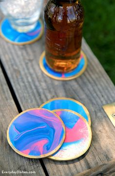 Our DIY oven-baked clay coasters are such a fun craft and functional too! Pick clay in your favorite colors then create a pretty marbled design—no two are the same.