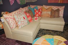 Great textures, fabrics, and patterns in the Massoud showroom!  Great corner sofa/armless chair! TheHome.com #hpmkt