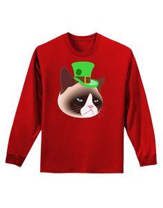 TooLoud Leprechaun Disgruntled Cat Adult Long Sleeve Dark T-Shirt