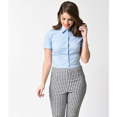 Baby Blue Collared Short Sleeve Button Up Blouse ($32) ❤ liked on Polyvore featuring tops, blouses, blue, white blouse, short sleeve tops, blue blouse, white button down blouse and button-down blouses