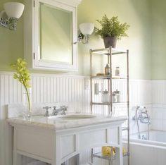 Olive green walls bathroom ideas breathtaking ideas for cottage bathroom walls using white paneling on olive green interior paint olive green bathroom walls Beadboard Wainscoting, White Beadboard, Bathroom Beadboard, Wainscoting Ideas, Wainscoting Bathroom, Bathroom Cabinets, Bathroom Flooring, Olive Green Bathrooms, Bathroom Green