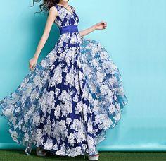 Summer Dress Blue Chiffon White Patin Maxi Dress Wedding Bohemia Sleeveless  Pleated Skirt Cocktail Prom Holiday Ball Gown Party Dress on Etsy, $125.00