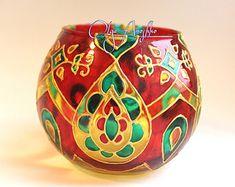 Rainbow mosaic. Decorative Vase Candle holder by RomanticArtGlass