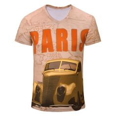 CJ Famous Brand T Shirt Men Fashion Pattern V -neck Short Sleeve Tops Hombre Summer  Tees Retro Car Letter Paris 3d Print //Price: $21.92 & FREE Shipping //     #hashtag1