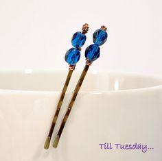 Pair of Dark Tropical Blue Bobby Pins