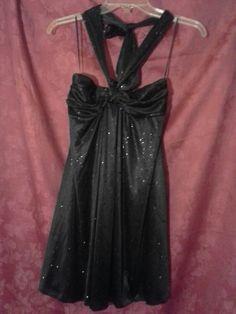 CHARLOTTE RUSSE Cocktail Halter Party Dress JUNIORS Sz S BLACK Shimmer Sequins?#CharlotteRusse #Halter #Dress