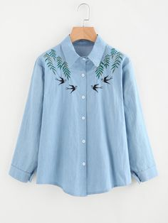Swallows Embroidered Denim Shirt