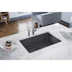 Elkay Quartz Luxe Undermount Composite 33 in. Single Bowl Kitchen Sink in - The Home Depot Modern Kitchen Cabinets, New Kitchen, Kitchen Decor, Kitchen Design, Kitchen Sinks, Laundry Sinks, Pantry Design, Kitchen Stuff, Kitchen Storage
