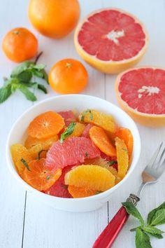 Citrus Mint Salad: 1 grapefruit, 2 oranges, 4 mandarin oranges, 1-2 tbsp honey, 1/2 tbsp fresh mint