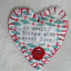 Handmade Heart Brooch/Ornament/Pin vintage by SheilasBlessings