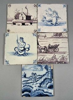 English and Dutch Delft blue and white and manganese tiles #ukauctioneers