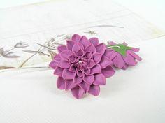Dahlia flower earrings handmade polymer clay by Segitanna on Etsy