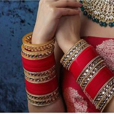 Image may contain: one or more people Indian Bridal Jewelry Sets, Bridal Bangles, Indian Bridal Outfits, Chuda Bangles, Wedding Chura, Bridal Chuda, Antique Jewellery Designs, Bollywood, Wedding Accessories