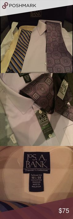 NEW Shirt and Tie bundle! Fantastic gift opportunity! Two shirt and tie sets still in box! One in light purple and one in pale yellow. Each Shirt alone retails for $87. All are NWT! Jos A Bank Shirts Dress Shirts