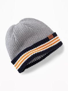 2aae7a2e48fe0 Stripe-Brim Sweater-Knit Beanie for Toddler Boys Navy Stripes