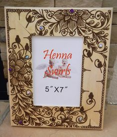 Picture Frame with Henna Hidden Swirly Birds  by mehndiart09, $50.00