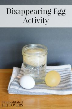 """Disappearing Egg Activity for Kids- This egg experiment is a great letter """"E"""" activity for preschoolers and fun science activity for older kids!"""