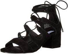 Steve Madden Women's Indea Dress Sandal, Black Suede, 6.5-$59.96