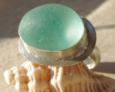 Handmade Sterling silver and sea glass ring - Aqua swirl on Etsy, £30.00