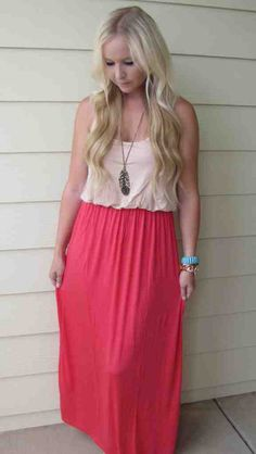 Coral Colorblock Maxi Dress.  Only $32!!  And today to celebrate the 4th of July get 20% off your ENTIRE ORDER!!  Enter in code: july4 at checkout!  www.sevenandcoboutique.com