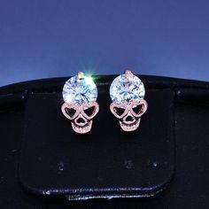 Nieuwe mode-sieraden rose vergulde CZ zirkoon schedel skelet stud cadeau voor vrouwen meisje E2845