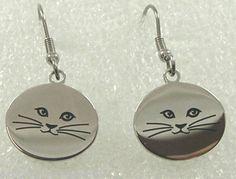 Kitty Cat Stainless Steel Earrings Dangle Silver-tone