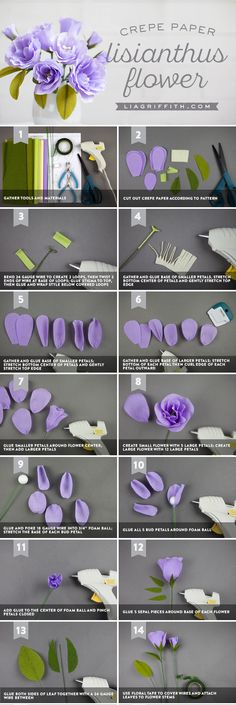 Easy DIY Crepe Paper Lisianthus Tools, Steps and Tutorial We're loving the gorgeous purple hue of this crepe paper Lisianthus. We've outlined all the tools, materials and steps you need to make your own here. Tissue Paper Flowers, Felt Flowers, Diy Flowers, Fabric Flowers, Crepe Paper Roses, Material Flowers, Paper Peonies, Diy Paper, Paper Crafts