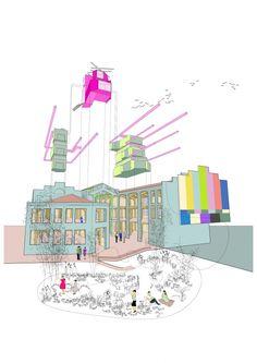 Volumes Diagram for Medialab-Prado by Langarita Navarro Arquitectos