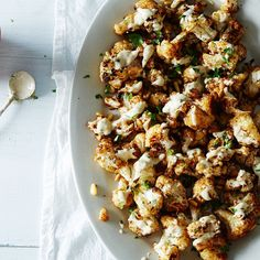 spice-roasted cauliflower with pine nuts and tahini.
