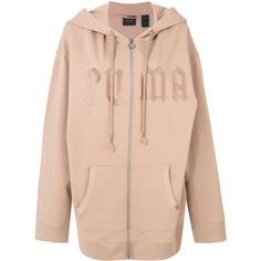 Fenty Fleece Hoody With Harness ($510) ❤ liked on Polyvore featuring tops, hoodies, beige, fleece hoodies, logo hoodies, fleece hoodie, long sleeve hoodie and pink hooded sweatshirt