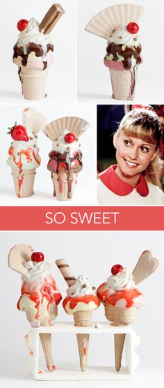 """real art for a fictitious world. / sfgirlbybay *ceramic ice cream by anna barlow """"bought"""" for sandy from grease!"""