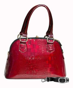 Take a look at this Red Crocodile Doloris Satchel by Bravo Handbags on #zulily today!