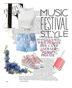 """""""Music Festival 💖"""" by katiebuttons12 ❤ liked on Polyvore featuring adidas Originals, GUESS by Marciano, Forte Couture, Essie and WithChic"""