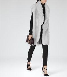 Womens Grey Reversible Shearling Gilet - Reiss Lexi
