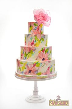 Floral Painted Wedding Cake by Nasa Mala Zavrzlama - http://cakesdecor.com/cakes/252740-floral-painted-wedding-cake