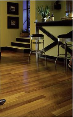 brazilian teak floor--marc likes.  will it work with a gray wall and white cabinets?